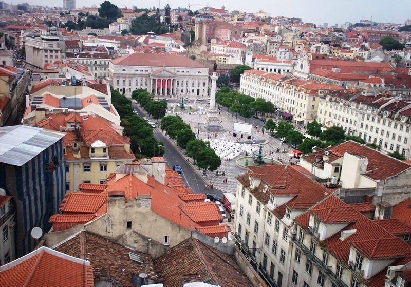 La Piazza Centrale di Lisbona, vista dall'alto
